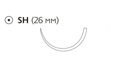Рассасывающийся шовный материал Монокрил (Monocryl) 3/0, длина 70см, кол. игла 26мм, 1/2 окр., фиолетовая нить (W3447) Ethicon (Этикон)