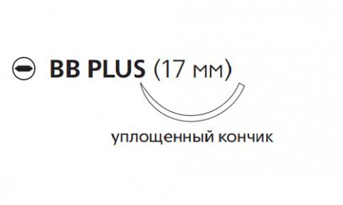 Рассасывающийся шовный материал с антибактериальным покрытием Викрил Плюс (Vicryl Plus) 4/0, длина 45см, кол. игла 17мм, 3/8 окр., уплощенный кончик, фиолетовая нить (VCP9074H) Ethicon (Этикон)
