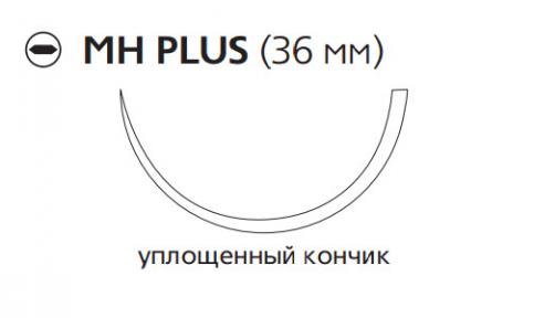 Викрил Плюс (Vicryl Plus) 1, длина 70см, кол. игла 36мм, 1/2 окр., уплощенный кончик, фиолетовая нить (VCP325H)