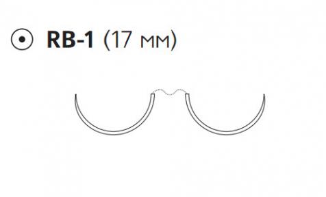 Нерассасывающийся шовный материал Пролен (Prolene) 5/0, длина 75см, 2 кол. иглы 17мм, 1/2 окр. (F1800) Ethicon (Этикон)