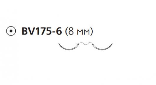 Нерассасывающийся шовный материал Пролен (Prolene) 7/0, длина 60см, 2 кол. иглы 8мм BV175, 3/8 окр. (8735H) Ethicon (Этикон)