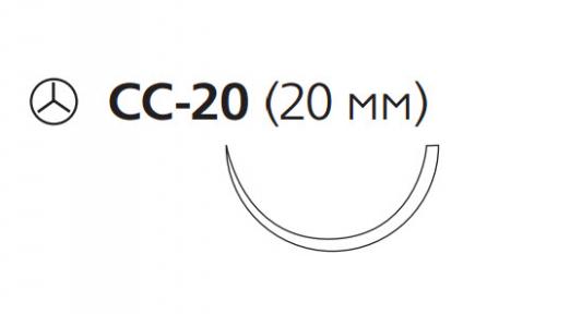Рассасывающийся шовный материал Викрил (Vicryl) 3/0, длина 75см, кол. игла 20мм, 1/2 окр., фиолетовая нить (W9118) Ethicon (Этикон)
