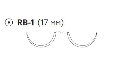 Рассасывающийся шовный материал с антибактериальным покрытием ПДС Плюс (PDS Plus) 5/0, длина 90см, 2 кол. иглы 17мм, 1/2 окр., фиолетовая нить (PDP9108H) Ethicon (Этикон)