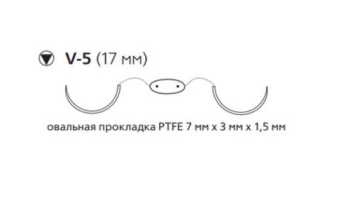 Этибонд Эксель (Ethibond Excel) 2/0, нить с прокладкой PTFE, длина 90см, 2 кол-реж. иглы 17мм, 1/2 окр., белая нить (PX17H)