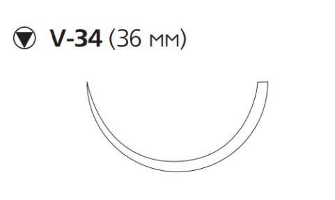 Рассасывающийся шовный материал с антибактериальным покрытием ПДС Плюс (PDS Plus) 0, длина 90см, кол-реж. игла 36мм, 1/2 окр., фиолетовая нить (PDP9355H) Ethicon (Этикон)