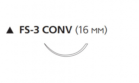 Пролен (Prolene) 3/0, длина 75см, реж. игла 16мм Conv W8549