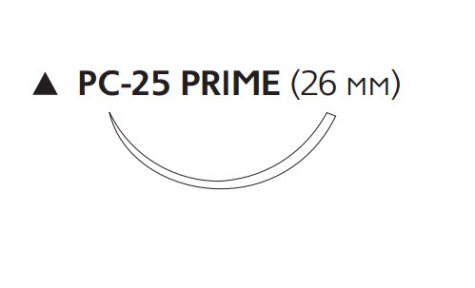 Викрил (Vicryl) 3/0, длина 75см, реж. игла 26мм Prime, 3/8 окр., неокрашенная нить (W9581T)