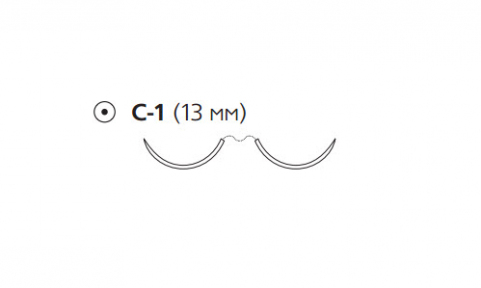 Нерассасывающийся шовный материал Этибонд Эксель (Ethibond Excel) 4/0, длина 75см, 2 кол. иглы 13мм, 3/8 окр., зеленая нить (W6891) Ethicon (Этикон)
