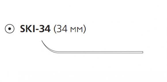 Рассасывающийся шовный материал Викрил (Vicryl) 2/0, длина 75см, кол. игла 34мм, лыжеобразная, фиолетовая нить (W9341) Ethicon (Этикон)