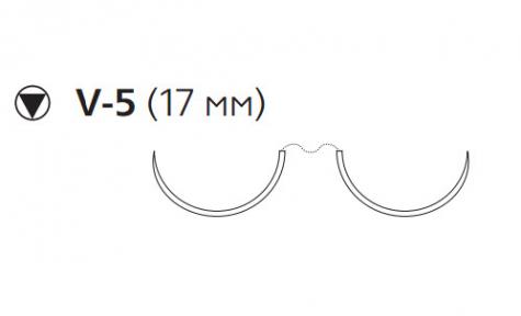 Пролен (Prolene) 2/0, длина 90см, 2 кол-реж. иглы 17мм, 1/2 окр. (W8937)
