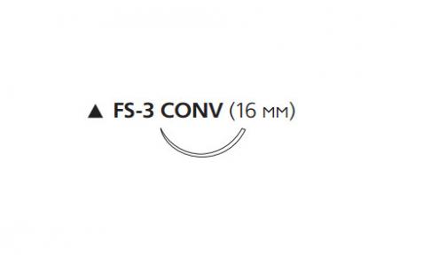 ПДС II (PDS II) 4/0, длина 70см, реж. игла 16мм CONV W9734T