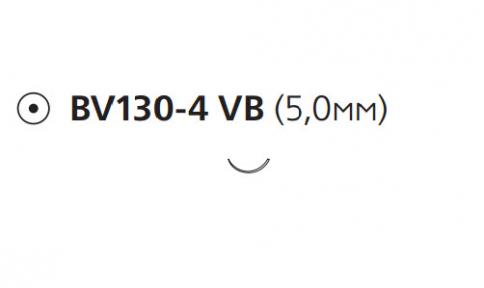 Нерассасывающийся шовный материал Этилон (Ethilon) 9/0, длина 13см, кол. игла 5мм BV130, 3/8 окр., черная нить (W2913) Ethicon (Этикон)