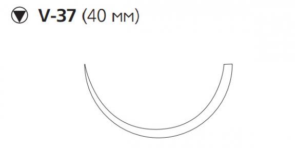Викрил (Vicryl) 1, длина 75см, кол-реж. игла 40мм W9368