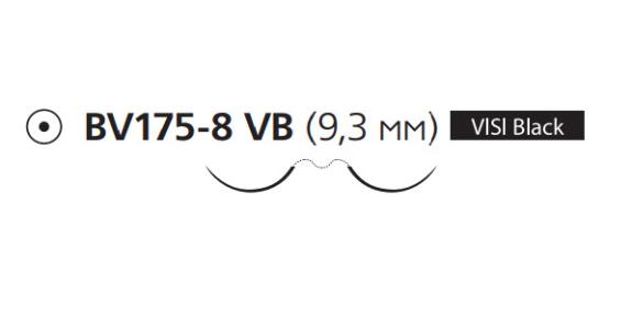 Пролен (Prolene) 7/0, 4шт. по 60см, 2 кол. иглы 9,3мм BV175 Visi Black, 3/8 окр. (X967G)