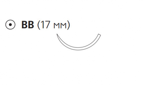 Монокрил (Monocryl) 4/0, длина 70см, кол. игла 17мм, 3/8 окр., фиолетовая нить (W3548)