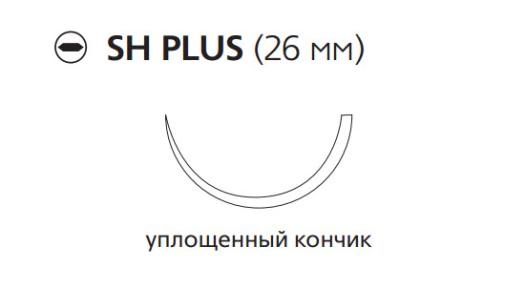 Рассасывающийся шовный материал Викрил (Vicryl) 0, длина 70см, кол. игла 26мм, 1/2 окр., уплощенный кончик, фиолетовая нить (V318H) Ethicon (Этикон)