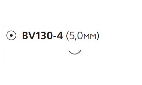 Нерассасывающийся шовный материал Этилон (Ethilon) 8/0, длина 13см, кол. игла 5мм BV130, 3/8 окр., черная нить (W2812) Ethicon (Этикон)