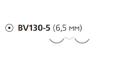 Нерассасывающийся шовный материал Пролен (Prolene) 8/0, длина 60см, 2 кол. иглы 6,5мм BV130, 3/8 окр. (F1890) Ethicon (Этикон)