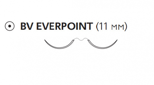 Пролен (Prolene) 6/0, длина 60см, 2 кол. иглы 11мм BV Everpoint, 3/8 окр. (ЕР8610Н)