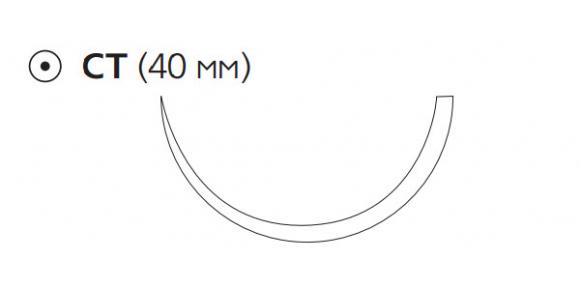 Рассасывающийся шовный материал Викрил (Vicryl) 0, длина 75см, кол. игла 40мм, 1/2 окр., фиолетовая нить (W9230) Ethicon (Этикон)