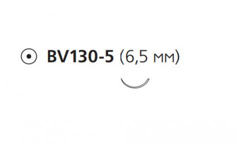 Нерассасывающийся шовный материал Этилон (Ethilon) 8/0, длина 13см, кол. игла 6,5мм BV130, 3/8 окр., черная нить (W2808) Ethicon (Этикон)