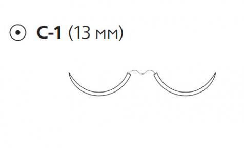 Нерассасывающийся шовный материал Пролен (Prolene) 6/0, длина 75см, 2 кол. иглы 13мм, 3/8 окр. (W8706) Ethicon (Этикон)