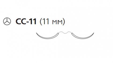 Пролен (Prolene) 6/0, длина 60см, 2 кол. иглы 11мм CC-11, для кальцинирования сосудов, 3/8 окр. (W8802)