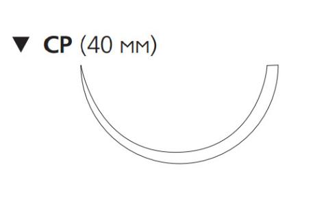 Этилон (Ethilon) 0, длина 100см, обр-реж. игла 40мм, 1/2 окр., черная нить (W737)