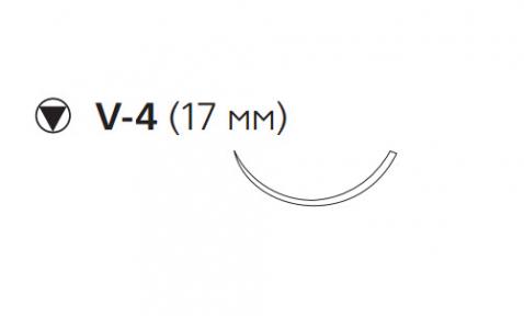 Рассасывающийся шовный материал с антибактериальным покрытием Викрил Плюс (Vicryl Plus) 4/0, длина 70см, кол-реж. игла 17мм, 3/8 окр., неокрашенная нить (VCP240H) Ethicon (Этикон)