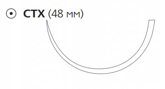 Рассасывающийся шовный материал с антибактериальным покрытием Викрил Плюс (Vicryl Plus) 2, длина 90см, кол. игла 48мм, 1/2 окр., фиолетовая нить (VCP372H) Ethicon (Этикон)