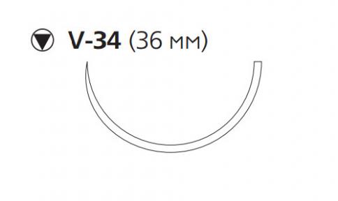 Рассасывающийся шовный материал с антибактериальным покрытием Викрил Плюс (Vicryl Plus) 3/0, длина 90см, кол-реж. игла 36мм, 1/2 окр., фиолетовая нить (VCP516H) Ethicon (Этикон)