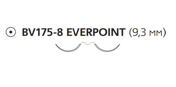 Пролен (Prolene) 7/0, длина 60см, 2 кол. иглы 9,3мм BV175 Everpoint EP8747H