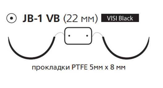 Нерассасывающийся шовный материал Пролен (Prolene) 5/0, длина 90см, 2 кол. иглы 22мм Visi Black, 1/2 окр., прокладки PTFE 5мм х 8мм (EH8066H) Ethicon (Этикон)