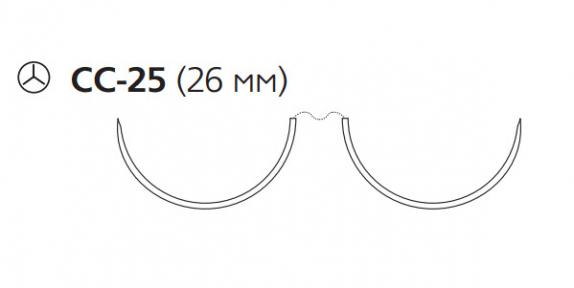 Нерассасывающийся шовный материал Пролен (Prolene) 2/0, длина 90см, 2 кол. иглы 26мм CC, для кальцинирования сосудов, 1/2 окр. (W8843) Ethicon (Этикон)