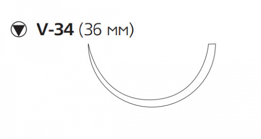 Викрил (Vicryl) 2/0, длина 75см, кол-реж. игла 36мм W9363
