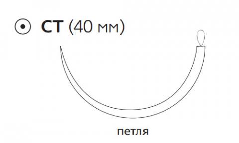 Этилон (Ethilon) 0, длина 150см, кол. игла 40мм W740