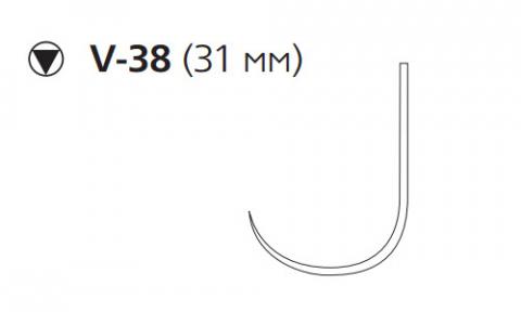 Нерассасывающийся шовный материал Пролен (Prolene) 0, длина 100см, кол-реж. игла 31мм, крючок (W982) Ethicon (Этикон)