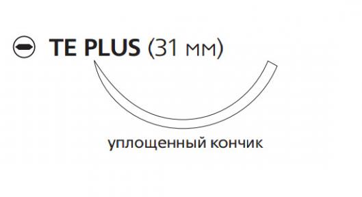 Рассасывающийся шовный материал с антибактериальным покрытием Викрил Плюс (Vicryl Plus) 2/0, длина 70см, кол. игла 31мм, 3/8 окр., уплощенный кончик, фиолетовая нить (VCP1036H) Ethicon (Этикон)