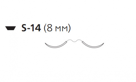 Монокрил (Monocryl) 6/0, длина 45см, 2 иглы 8мм W3552
