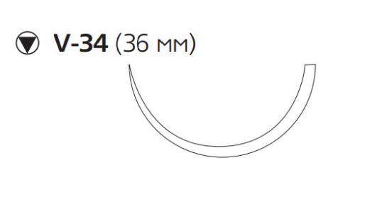 Рассасывающийся шовный материал Викрил (Vicryl) 1, длина 90см, кол-реж. игла 36мм, 1/2 окр., фиолетовая нить (W9465) Ethicon (Этикон)