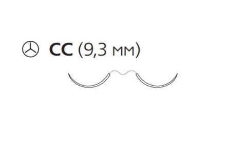 Рассасывающийся шовный материал с антибактериальным покрытием ПДС Плюс (PDS Plus) 6/0, длина 70см, 2 кол. иглы 9,3мм, 3/8 окр., фиолетовая нить (PDP1712H) Ethicon (Этикон)