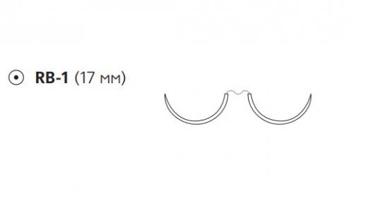 Этибонд Эксель (Ethibond Excel) 2/0, длина 90см, 2 кол. иглы 17мм, 1/2 окр., зеленая нить (W6760)