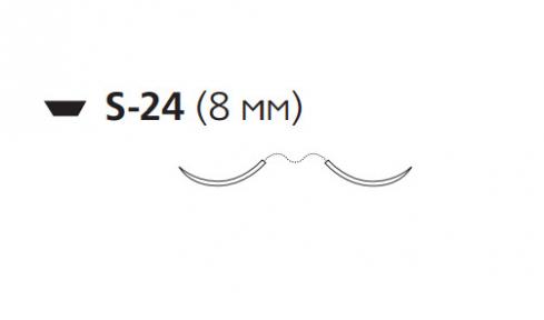 Викрил (Vicryl) 5/0, длина 45см, 2 шпательные иглы 8мм, 1/4 окр., неокрашенная нить (W9753)