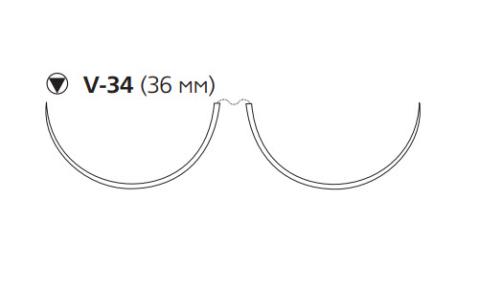Этибонд Эксель (Ethibond Excel) 2/0, длина 90см, 2 кол-реж. иглы 36мм, 3/8 окр., зеленая нить (W6952)