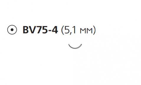 Нерассасывающийся шовный материал Этилон (Ethilon) 10/0, длина 13см, кол. игла 5,1мм BV75, 3/8 окр., черная нить (W2850) Ethicon (Этикон)