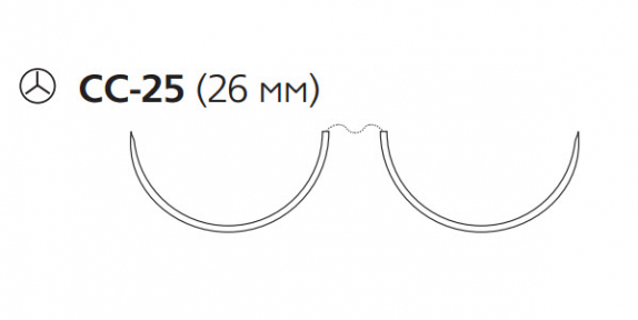 Пролен (Prolene) 3/0, длина 90см, 2 кол. иглы 26мм CC W8844