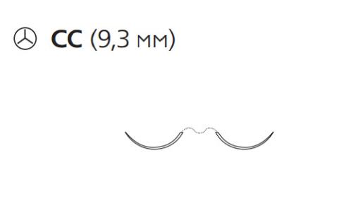 Пролен (Prolene) 6/0, длина 75см, 2 кол. иглы 9,3мм CC, для кальцинирования сосудов, 3/8 окр. (F1832)