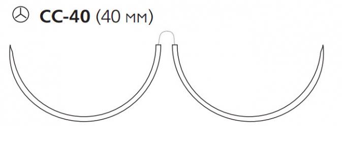 Нерассасывающийся шовный материал Пролен (Prolene) 2/0, длина 90см, 2 кол. иглы 40мм CC, для кальцинирования сосудов, 1/2 окр. (W8851) Ethicon (Этикон)