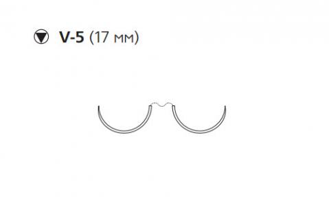 Этибонд Эксель (Ethibond Excel) 2/0, длина 90см, 2 кол-реж. иглы 17мм, 3/8 окр., белая нить (W6917)