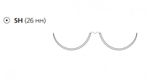 Нерассасывающийся шовный материал Этибонд Эксель (Ethibond Excel) 2/0, длина 90см,  2 кол. иглы 26мм, 1/2 окр., зеленая нить (W6767) Ethicon (Этикон)
